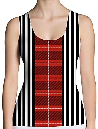 Plaid tartan & black & white stripe tank top