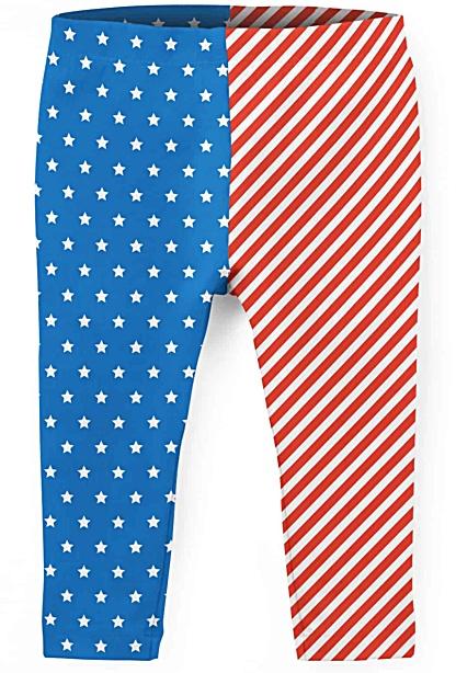American Flag Fourth July 4th - Kids Leggings