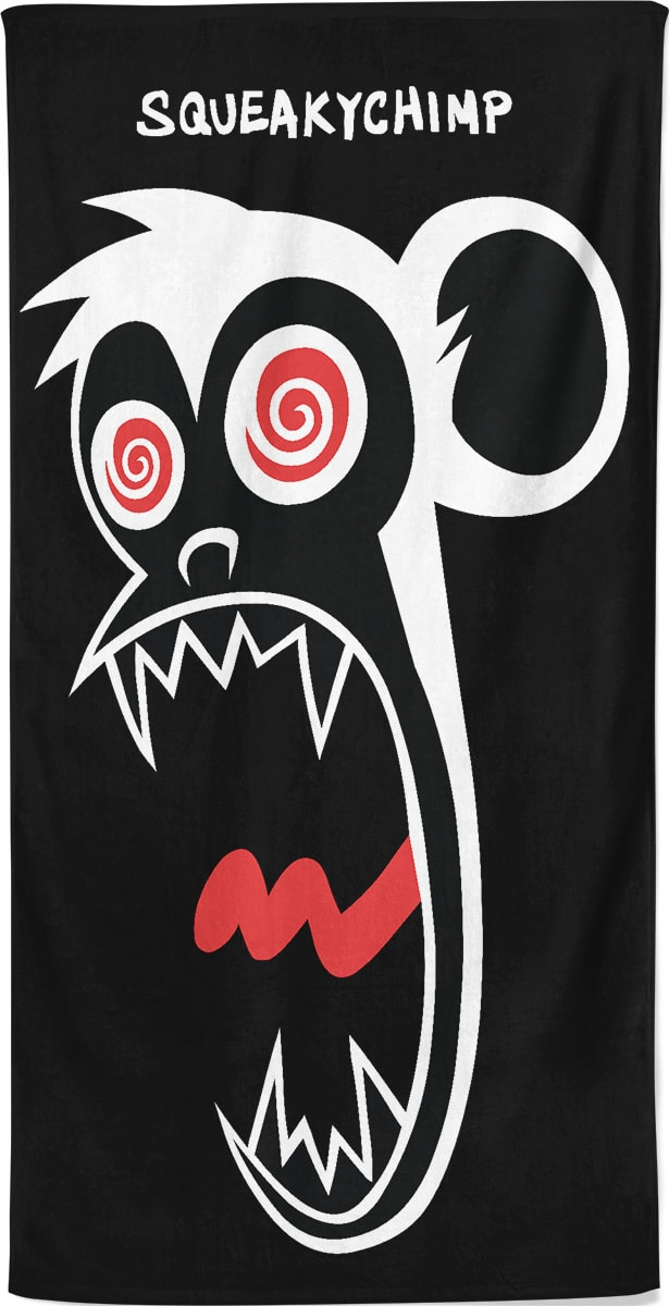 crazy-squeaky-chimp-monkey-beach-towel-black