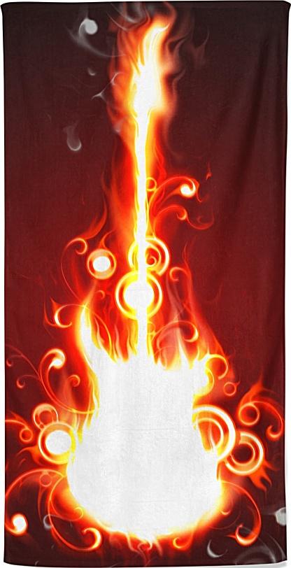 Guitar on fire - Music Beach Towel