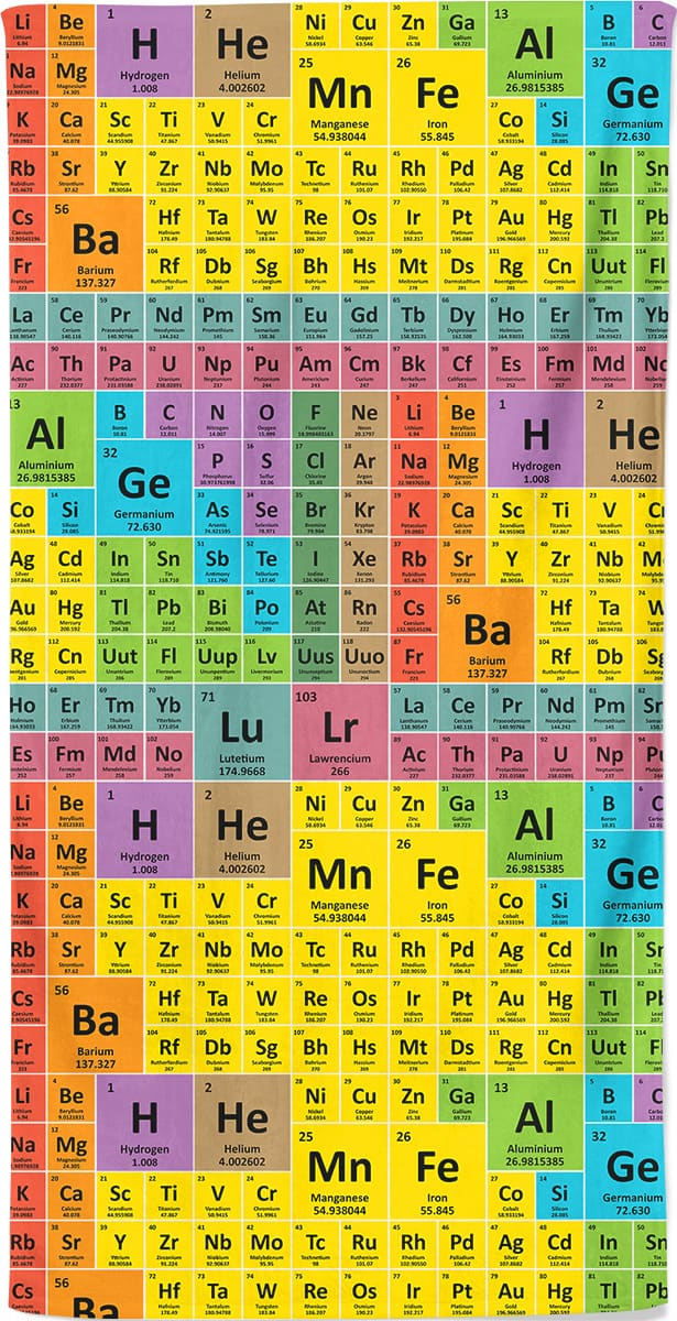 Periodic table of elements - beach towel