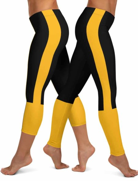 Pittsburgh Steeler Leggings - Pittsburgh Penguin Leggings - Pittsburgh Pirate Leggings NLF football game day tailgating black & gold