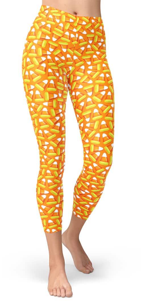 Halloween Candy Corn Leggings - Cropped Capri Legging
