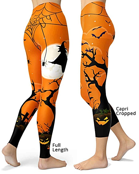 Orange Spooky Witch Full Moon Halloween Leggings