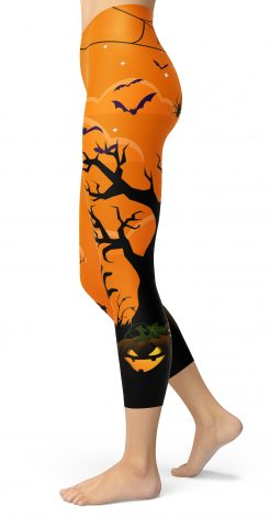 Orange Spooky Witch Full Moon Halloween Capri Cropped Leggings