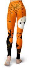 Orange Spooky Witch Full Moon Halloween Leggings