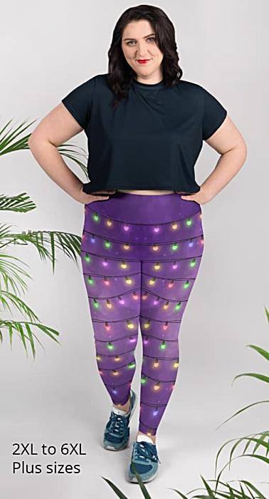 Sparkle Christmas Lights - Holiday Leggings - plus size leggings