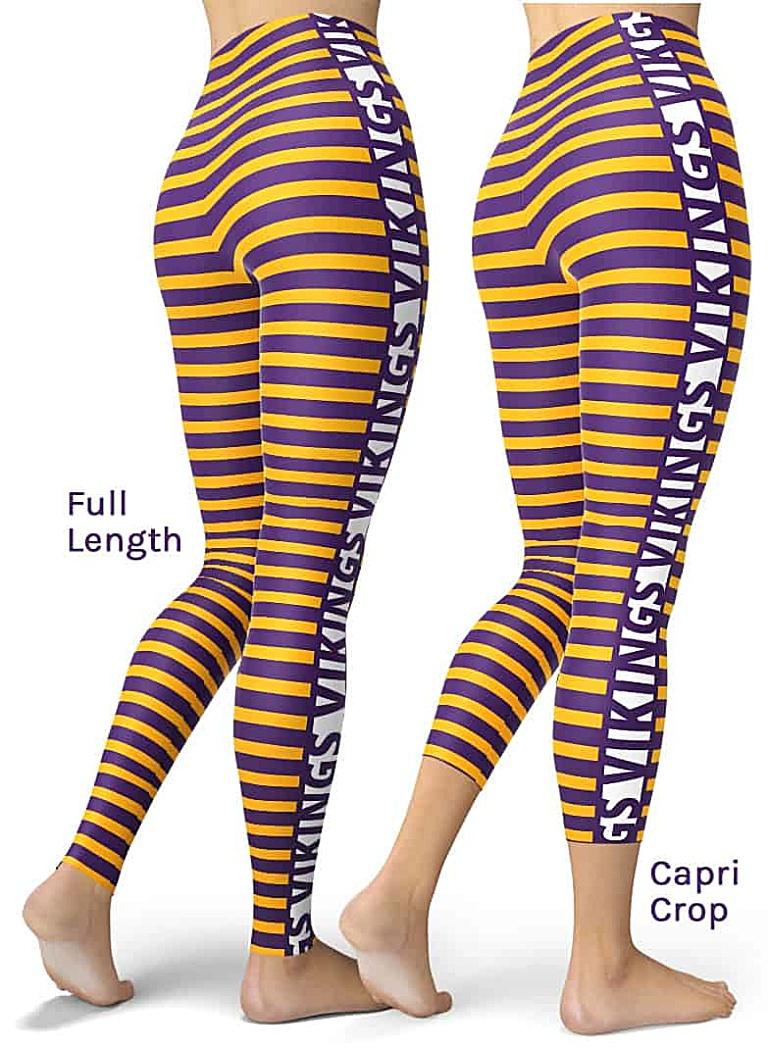Sexy Purple & Gold Stripe Minnesota Vikings Leggings