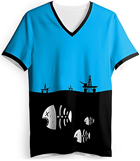 Underwater fish skeleton t-shirt - environmental t-shirt - oil rig tshirt - pollution tee