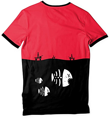 Underwater fish skeleton t-shirt - environmental t-shirt - oil rig tshirt - pollution tee - Men's tee