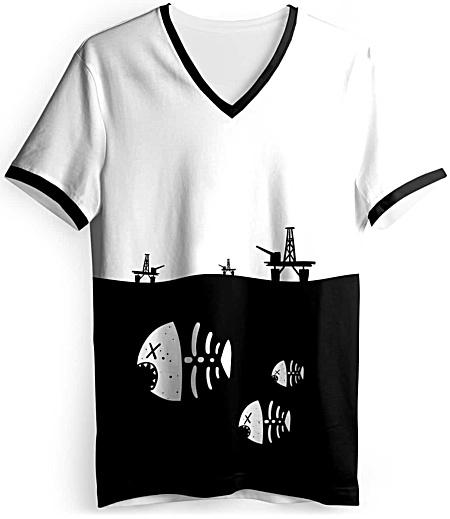 Underwater fish skeleton t-shirt - environmental t-shirt - oil rig tshirt - pollution tee