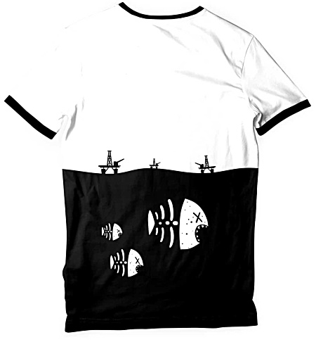 Underwater fish skeleton t-shirt - environmental t-shirt - oil rig tshirt - pollution tee - Men's tee