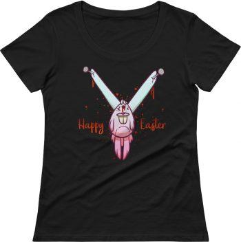 Dead bunny t shirt - rude t shirts - rude easter shirt - crazy women's scoop neck t-shirt