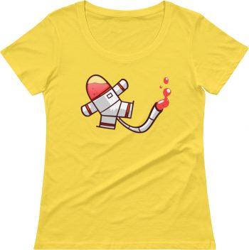 Spaceman Goo Designer scoop neck t shirt for women