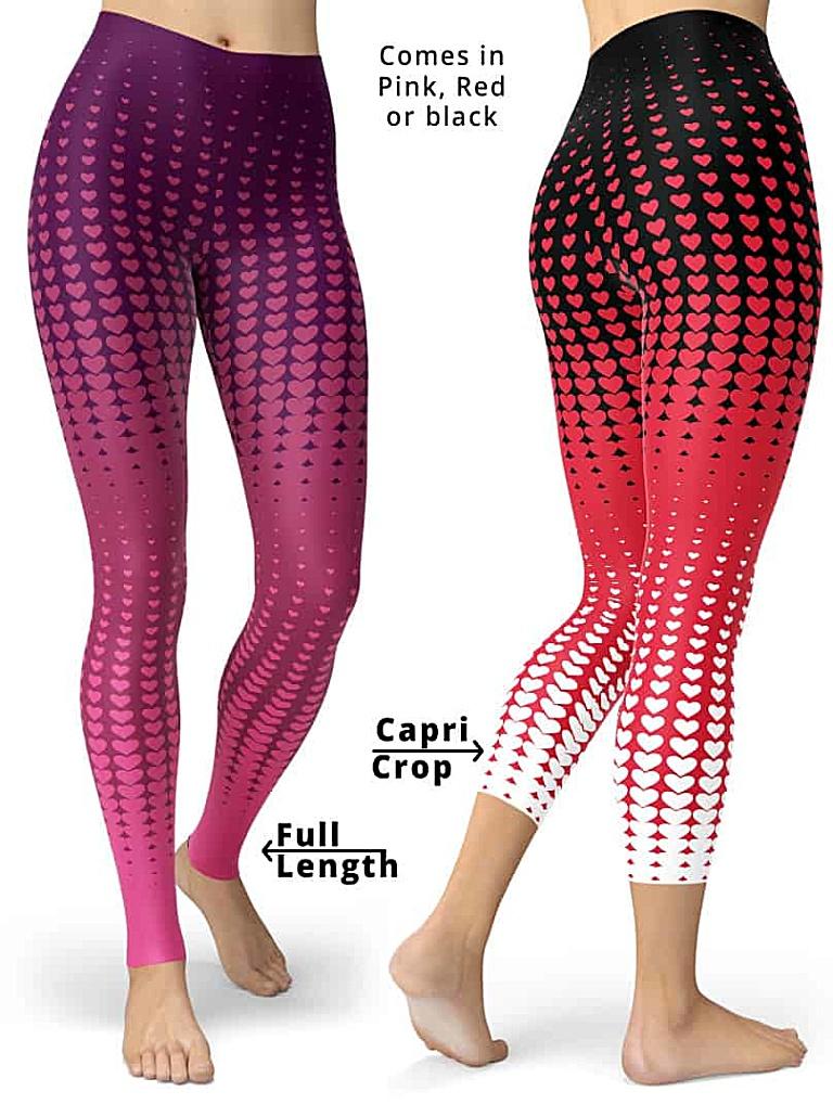 Valentines Day Leggings - Halftone Pattern Leggings - Pink Red Black