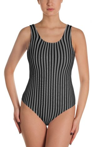Black and white - Pinstripe swimsuit - Pinstriped bathing suit - stripe sports swimwear
