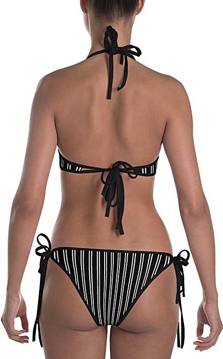 black & white pinstripe bikini - Pinstripe swimsuit - Pinstriped bathing suit - Stripe sports swimwear