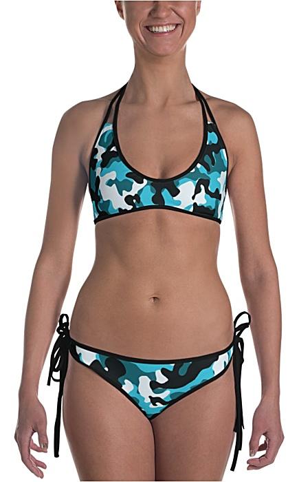 blue camouflage swimsuit - camo bathing suit - sports swimwear - camouflage bikini