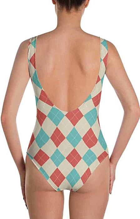 Argyle one piece bathing suit