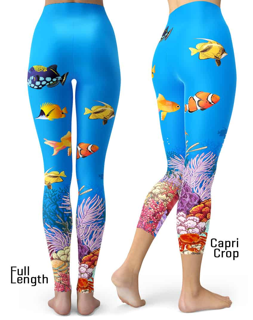 9589a373ad0cea Coral Reef Leggings - Designed By Squeaky Chimp Tshirts & Leggings