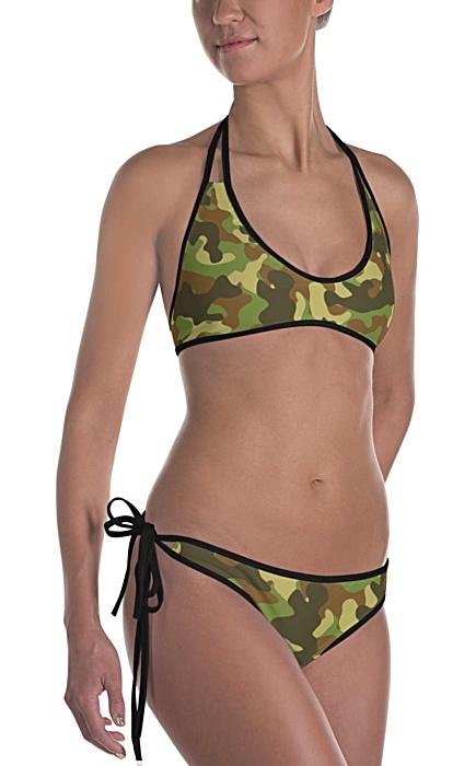 green camouflage swimsuit - camo bathing suit - sports swimwear - camouflage bikini