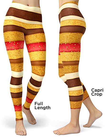 Strawberry & Chocolate spounge cake leggings - Sponge Cake Halloween Costumes legging - Carnival Costume - Sweet Tooth costume