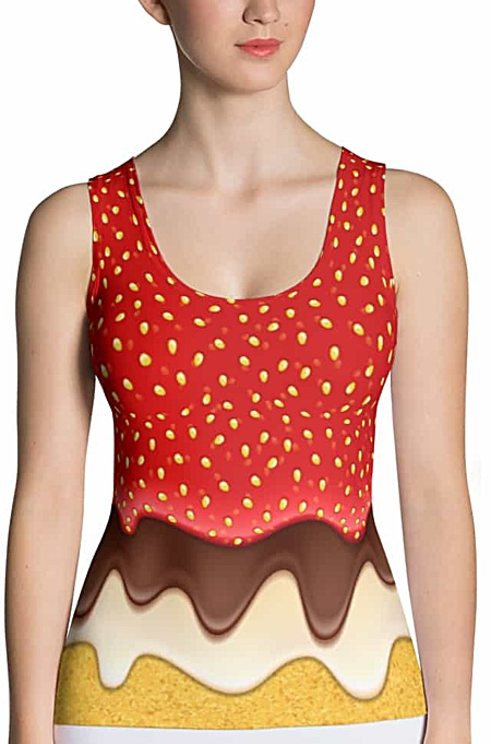 Strawberry & Chocolate icing top - Sponge Cake Halloween Costumes tank top - Carnival Costume - Sweet Tooth costume