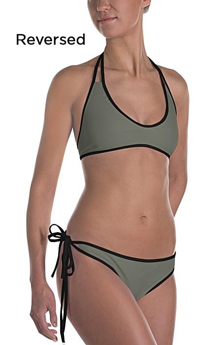green reversible bikinis - camouflage swimsuit - camo bathing suit - sports swimwear - camouflage bikini