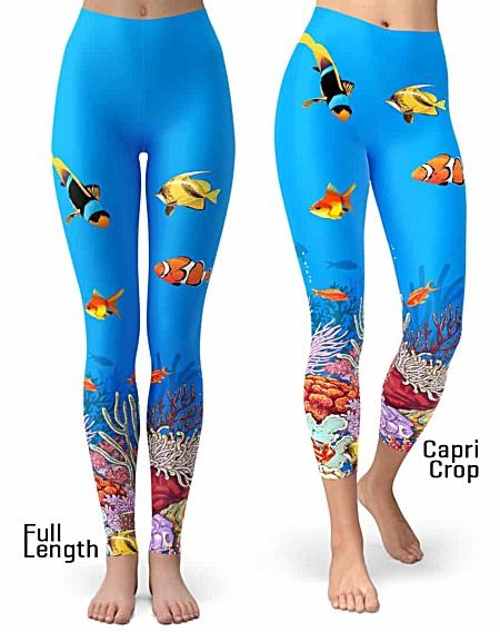 Ocean Leggings - Coral Reef Leggings - Fish Leggings