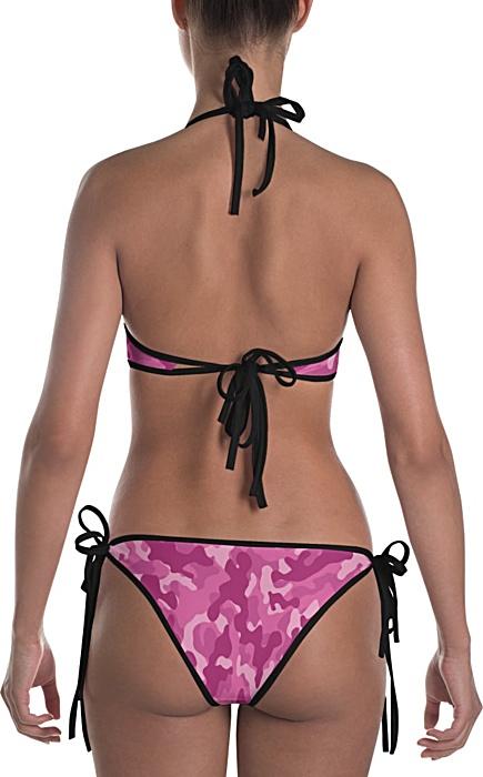 pink camouflage swimsuit - camo bathing suit - sports swimwear - camouflage bikini