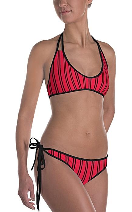 red pinstripe bikini - Pinstripe swimsuit - Pinstriped bathing suit - Stripe sports swimwear