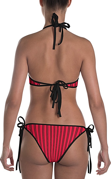 red pinstripe bikini - Pinstripe swimsuit - Pinstriped bathing suit - Stripe sports swimwear