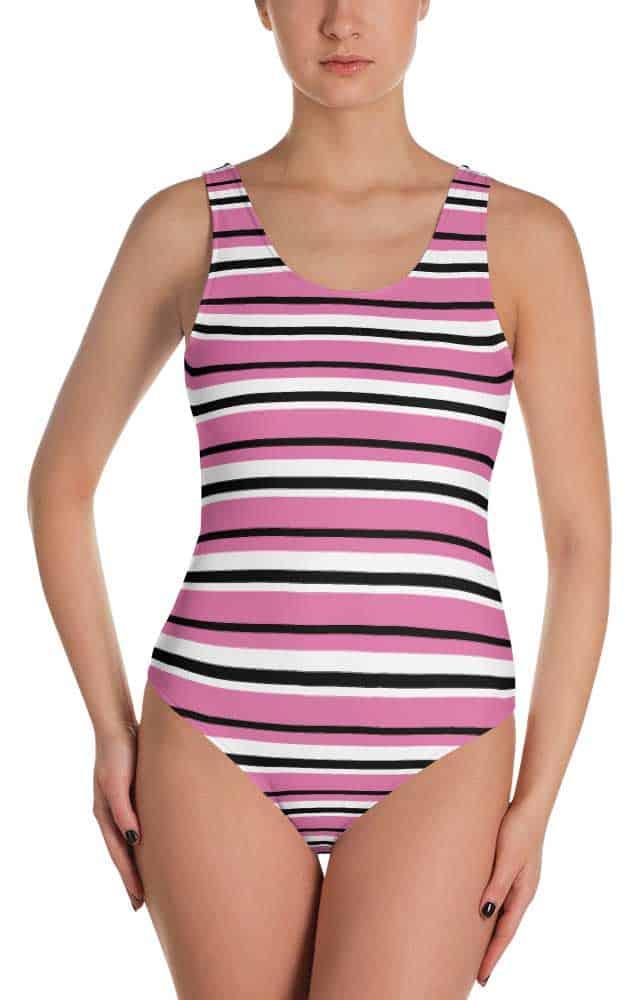 Striped one piece swimsuit- Stripe bathing suit