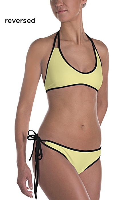 Striped Bikini - Bathing suit with stripes - Solid reversible swim suit