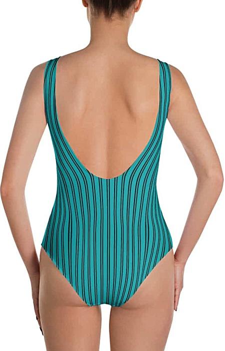 blue / green / teal - Pinstripe swimsuit - Pinstriped bathing suit - stripe sports swimwear