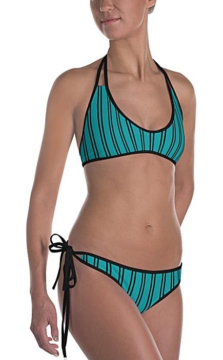 blue / green / teal pinstripe bikini - Pinstripe swimsuit - Pinstriped bathing suit - Stripe sports swimwear