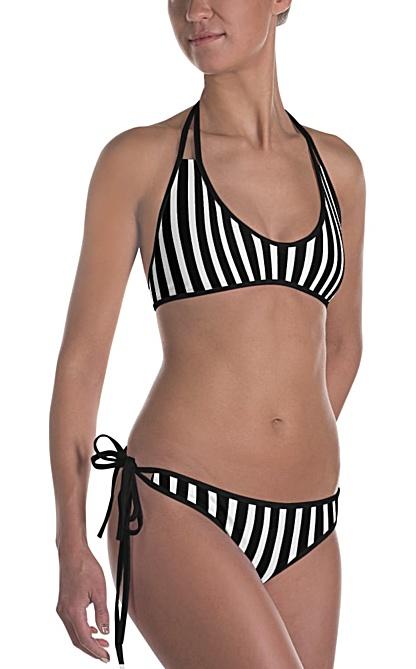 Vertical striped Bikini - Bathing suit with stripes - Reversible swim suit