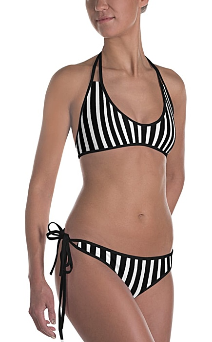 Vertical striped Bikini - Bathing suit with stripes - Reversible swim suit