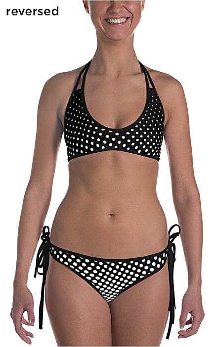 black & white polka dot bikini bathing suit two piece - halftone swimsuit
