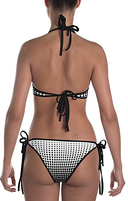 black and white polka dot halftone hearts bikini bathing suit two piece piece - halftone swimsuit