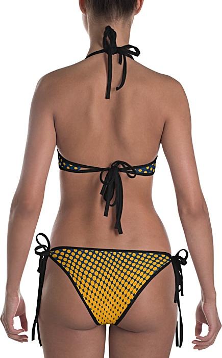 Gold & navy polka dot bikini bathing suit two piece - halftone swimsuit