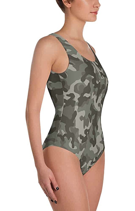 green camouflage swimsuit - camo bathing suit - sports swimwear - camouflage one piece suit