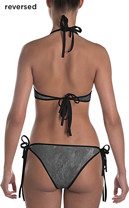 metal gray bikini swimsuit - two piece bathing suit