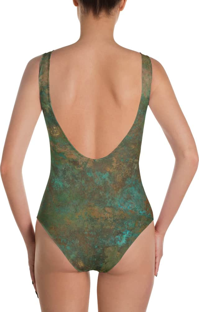 metal rust copper swimsuit - one piece bathing suit
