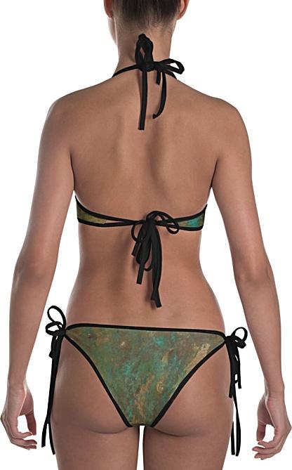 metal rust copper bikini swimsuit - two piece bathing suit