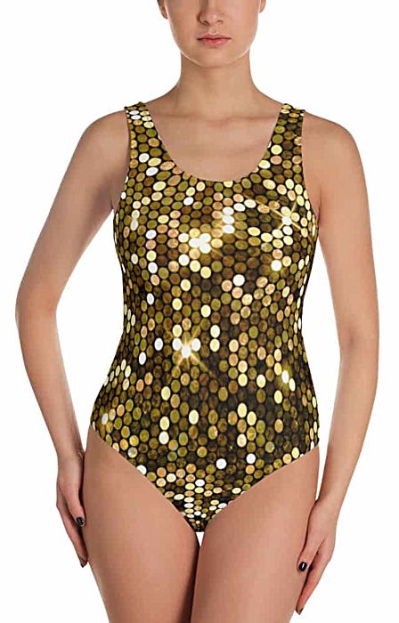 sparkle shimmery gold glitter bathing suite one piece