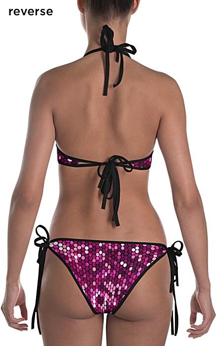 sparkle shimmery pink glitter bikini bathing suite two piece