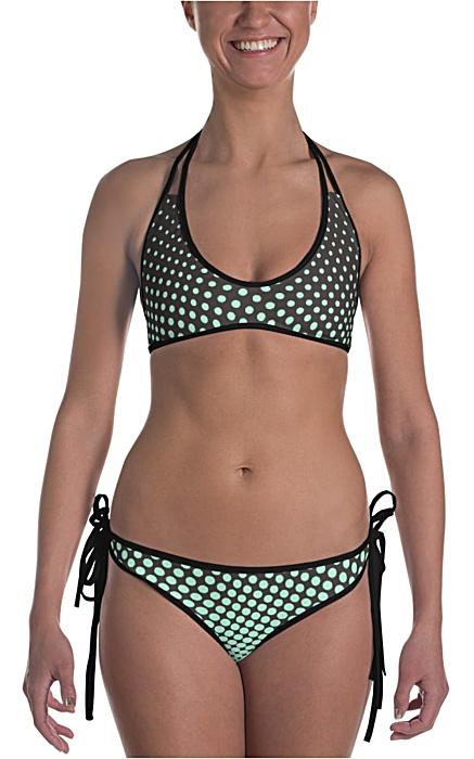 blue & lime polka dot bikini bathing suit two piece - halftone swimsuit