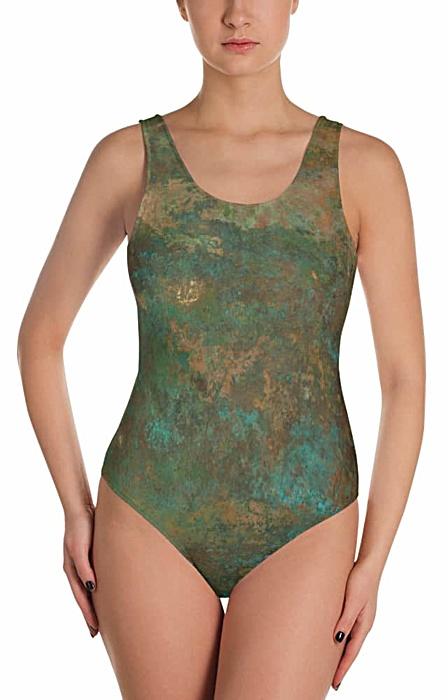 metal rust copper swimsuit - one piece bathing suit