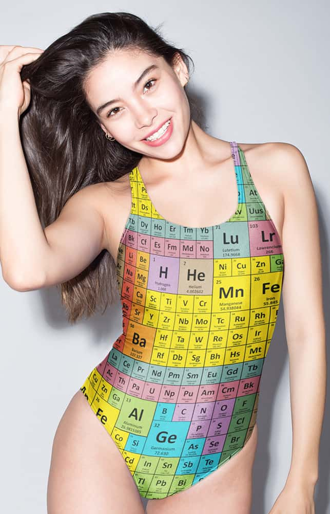 Periodic table chemical elements chart bathing suit one piece